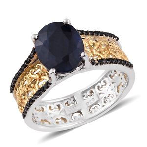 Kanchanaburi Blue Sapphire, Thai Black Spinel 14K YG and Platinum Over Sterling Silver Openwork Band Ring (Size 9.0) TGW 4.100 cts.