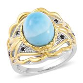 Larimar, Thai Black Spinel 14K YG Over and Sterling Silver Openwork Ring (Size 7.0) TGW 6.10 cts.
