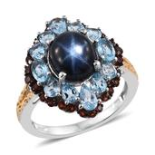 Thai Blue Star Sapphire, Electric Blue Topaz, Mozambiqe Garnet 14K YG and Platinum Over Sterling Silver Split Ring (Size 8.0) TGW 9.050 cts.