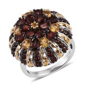 Mozambique Garnet, Brazilian Citrine 14K YG and Platinum Over Sterling Silver Ring (Size 8.0) TGW 5.61 cts.