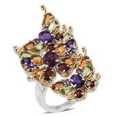 Jewel Studio by Shweta Orissa Rhodolite Garnet, Multi Gemstone 14K YG and Platinum Over Sterling Silver Ring (Size 9.0) TGW 7.335 cts.