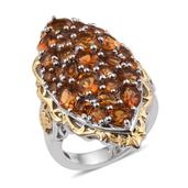 Santa Ana Madeira Citrine 14K YG and Platinum Over Sterling Silver Elongated Ring (Size 5.0) TGW 6.780 cts.