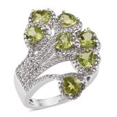 Hebei Peridot, White Topaz Platinum Over Sterling Silver Split Fashion Ring (Size 7.0) TGW 4.160 cts.