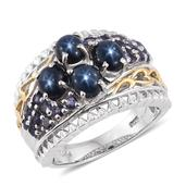 Thai Blue Star Sapphire, Catalina Iolite 14K YG and Platinum Over Sterling Silver Ring (Size 8.0) TGW 4.700 cts.