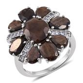Chocolate Sapphire, Tanzanite Platinum Over Sterling Silver Ring (Size 10.0) TGW 11.970 cts.