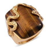 South African Tigers Eye, Champagne Austrian Crystal ION Plated YG Stainless Steel Ring (Size 6.0) TGW 21.000 cts.