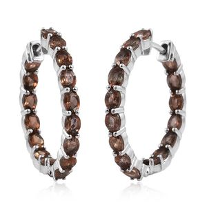 Jenipapo Andalusite Platinum Over Sterling Silver Inside Out Huggie Hoop Earrings TGW 5.120 Cts.