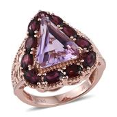 Jewel Studio by Shweta Rose De France Amethyst, Orissa Rhodolite Garnet 14K RG Over Sterling Silver Ring (Size 7.0) TGW 8.580 cts.