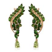 Stefy Hebei Peridot, Russian Diopside 14K YG Over Sterling Silver Ear Cuff Earrings TGW 11.012 Cts.