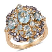 Cambodian Blue Zircon, Tanzanite 14K YG Over Sterling Silver Ring (Size 8.0) TGW 6.84 cts.