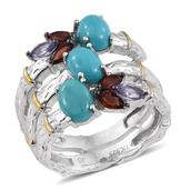 Jewel Studio by Shweta Arizona Sleeping Beauty Turquoise, Mozambique Garnet, Tanzanite 14K YG and Platinum Over Sterling Silver Open Bamboo Ring (Size 7.0) TGW 3.580 cts.