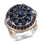 Thai Blue Star Sapphire, Mozambique Garnet, White Topaz 14K YG and Platinum Over Sterling Silver Ring (Size 8.0) TGW 12.590 cts.