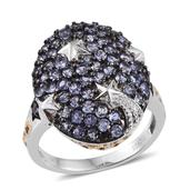 Tanzanite 14K YG and Platinum Over Sterling Silver Cluster Ring (Size 6.0) TGW 2.50 cts.