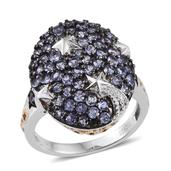 Tanzanite 14K YG and Platinum Over Sterling Silver Cluster Ring (Size 8.0) TGW 2.50 cts.