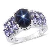 Thai Blue Star Sapphire, Tanzanite, White Topaz Platinum Over Sterling Silver Ring (Size 6.0) TGW 8.13 cts.