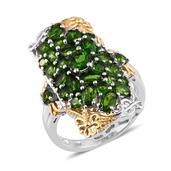 Russian Diopside 14K YG and Platinum Over Sterling Silver Elongated Ring (Size 7.0) TGW 5.36 cts.