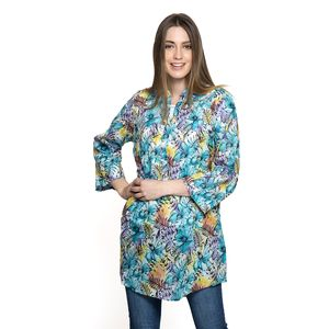 Sky Blue Floral Pattern 100% Cotton Tunic (34x27 in)