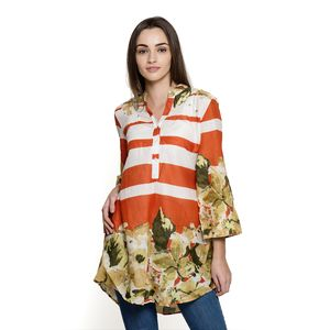Burnt Orange and White Stripe 100% Cotton Tunic with Green Floral Pattern (Large)