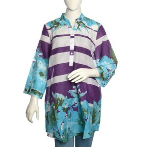 Purple and White Stripe 100% Cotton Tunic with Aqua Floral Pattern (Large)