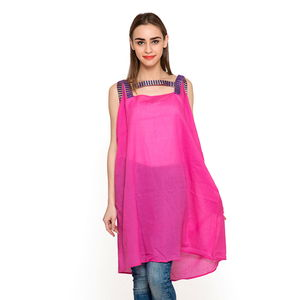 Rose Pink and Violet 100% Cotton Lace Tunic (Large)