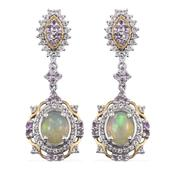 Ethiopian Welo Opal, Rose De France Amethyst, White Topaz 14K YG and Platinum Over Sterling Silver Earrings TGW 6.642 Cts.