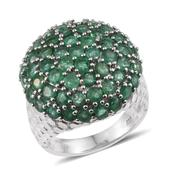 Kagem Zambian Emerald Platinum Over Sterling Silver Round Cluster Ring (Size 9.0) TGW 5.900 cts.