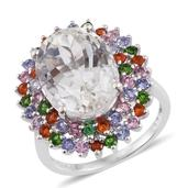 XIA Kunzite, Multi Gemstone Platinum Over Sterling Silver Ring (Size 7.0) TGW 14.890 cts.