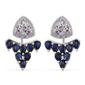 XIA Kunzite, Kanchanaburi Blue Sapphire, White Topaz Platinum Over Sterling Silver Ear Jacket Earrings TGW 8.09 cts.