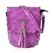 J Francis - Purple Faux Leather Flap Over Saddle Bag with Tassels (6x2x7.5 in)
