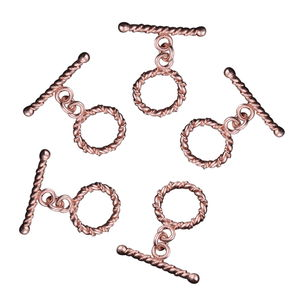 LC DIY Rosetone Twisted Wire Toggle Clasps Set of 5