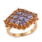 Tanzanite, Santa Ana Madeira Citrine 14K YG Over Sterling Silver Ring (Size 8.0) TGW 4.550 cts.