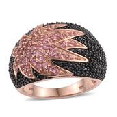 Pink Tourmaline, Thai Black Spinel 14K RG Over Sterling Silver Ring (Size 9.0) TGW 3.070 cts.