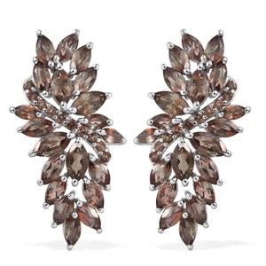 Jenipapo Andalusite Platinum Over Sterling Silver Earrings TGW 6.76 cts.