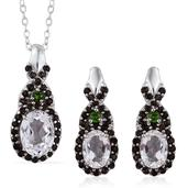 XIA Kunzite, Russian Diopside, Brazilian Smoky Quartz Platinum Over Sterling Silver Earrings and Pendant With Chain Set (20 in) TGW 4.790 Cts.