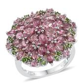 Pink Tourmaline, Russian Diopside 14K YG and Platinum Over Sterling Silver Cluster Ring (Size 8.0) TGW 5.47 cts.