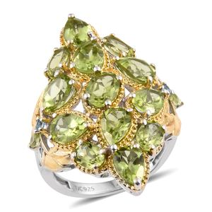 Hebei Peridot, Swiss Blue Topaz 14K YG and Platinum Over Sterling Silver Elongated Ring (Size 5.0) TGW 9.14 cts.