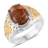 Mojave Orange Turquoise 14K YG and Platinum Over Sterling Silver Ring (Size 10.0) TGW 5.35 cts.