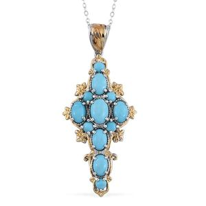 Arizona Sleeping Beauty Turquoise 14K YG and Platinum Over Sterling Silver Pendant With Chain (20 in) TGW 3.660 Cts.
