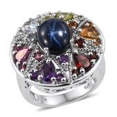 Thai Blue Star Sapphire, Multi Gemstone Platinum Over Sterling Silver Ring (Size 8.0) TGW 10.653 cts.