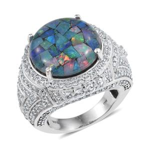 Australian Mosaic Opal, White Topaz Platinum Over Sterling Silver Statement Ring (Size 7.0) TGW 18.48 cts.