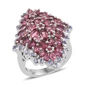 Customer Day Pink Tourmaline, Tanzanite Platinum Over Sterling Silver Elongated Cluster Ring (Size 7.0) TGW 5.39 cts.