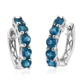 Malgache Neon Apatite Platinum Over Sterling Silver Hoop Earrings TGW 2.000 Cts.