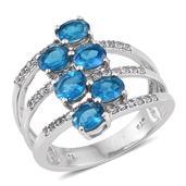Malgache Neon Apatite, White Topaz Platinum Over Sterling Silver Fashion Ring (Size 9.0) TGW 2.570 cts.