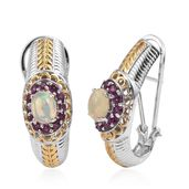 Ethiopian Welo Opal, Orissa Rhodolite Garnet 14K YG and Platinum Over Sterling Silver Omega Clip Earrings TGW 3.42 cts.
