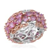 Madagascar Pink Sapphire 14K RG Over and Sterling Silver Cluster Band Ring (Size 9.0) TGW 4.850 cts.