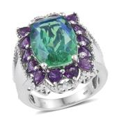 Peacock Quartz, Amethyst Platinum Over Sterling Silver Cocktail Ring (Size 6.0) TGW 13.000 cts.