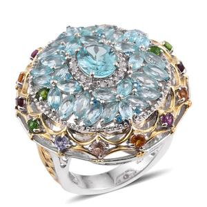 Madagascar Paraiba Apatite, Multi Gemstone 14K YG and Platinum Over Sterling Silver Openwork Statement Ring (Size 8.0) TGW 8.31 cts.