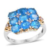 Malgache Neon Apatite, Madagascar Pink Sapphire, Diamond Accent 14K YG and Platinum Over Sterling Silver Ring (Size 6.0) TGW 3.55 cts.