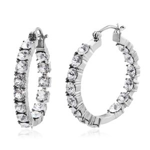 TLV Stainless Steel Inside Out Hoop Earrings Made with SWAROVSKI White Crystal TGW 7.35 cts.