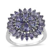 Tanzanite Platinum Over Sterling Silver Ring (Size 9.0) TGW 3.550 cts.